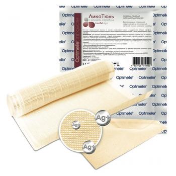 LicoTul Ag+ (ЛикоТюль Аг+) - Повязка раневая липидоколлоидная на полимерной сетчатой основе с ионами серебра, 10 см х 15 см